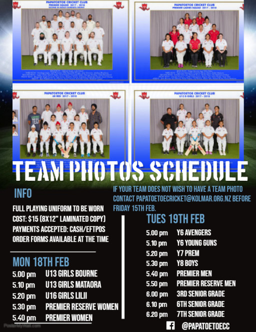 Team Photos are happening this Monday 18th Feb and Tuesday 19th Feb!!