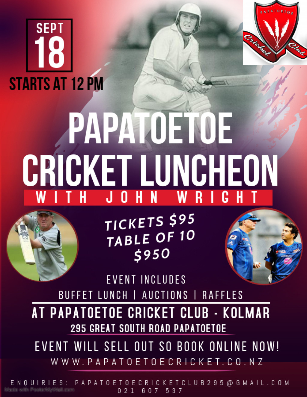 Online Registrations OPEN tomorrow and book your tickets NOW for the Cricket Luncheon with John Wright