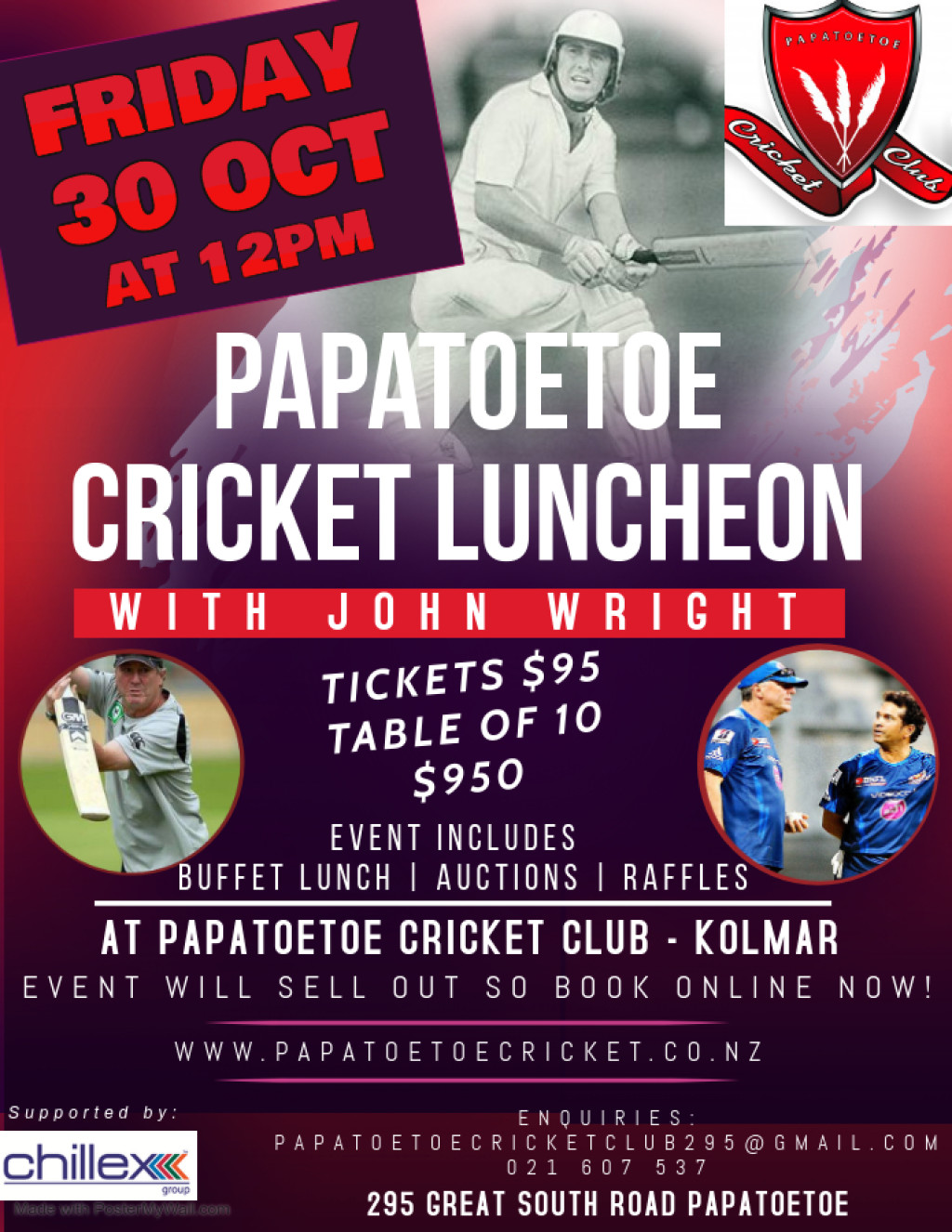 Cricket Luncheon with John Wright POSTPONED to Friday 30th October!