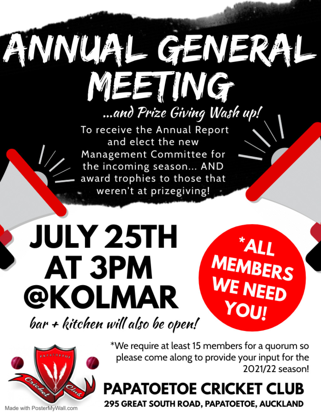 AGM, Breakaway & Pre-Season Training Dates, Kilicricket & Have Your Say Kolmar Survey!